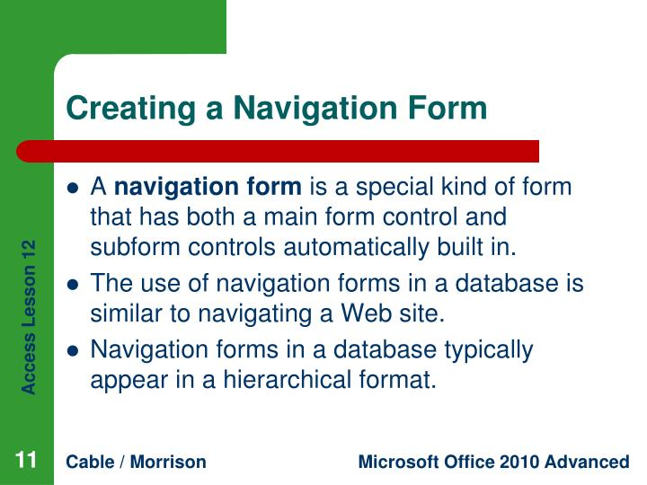 Creating a Navigation Form