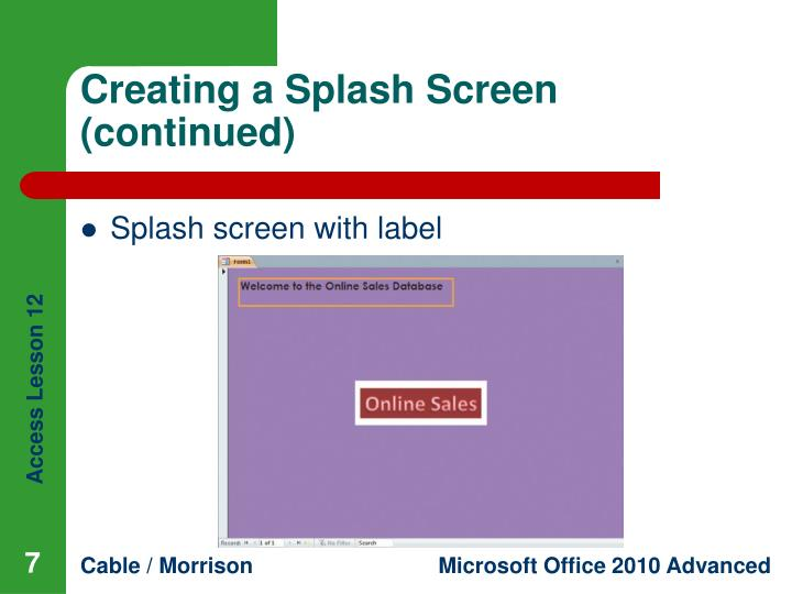 Creating a Splash Screen (continued)