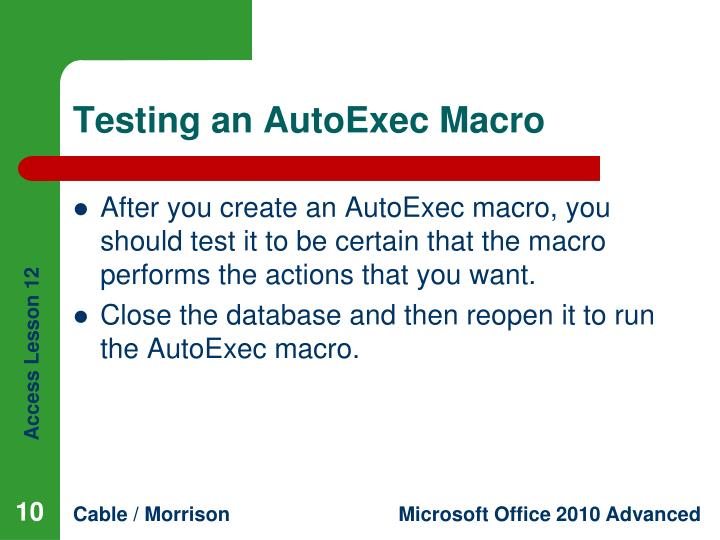 Testing an AutoExec Macro