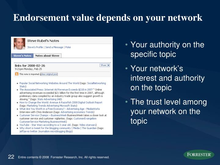 Endorsement value depends on your network