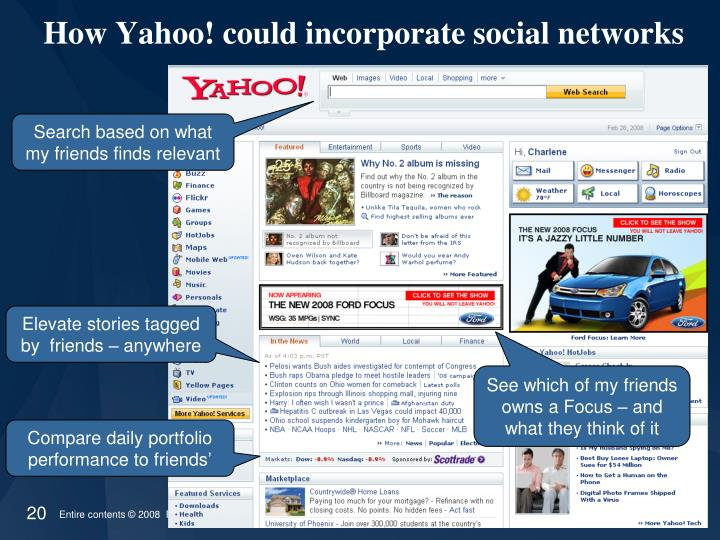 How Yahoo! could incorporate social networks