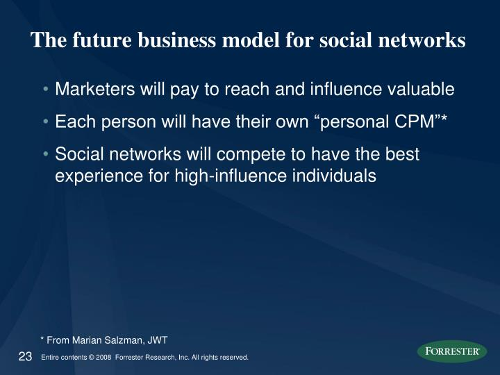 The future business model for social networks