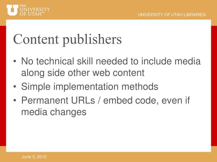 Content publishers
