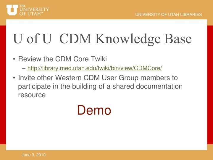 U of U  CDM Knowledge Base