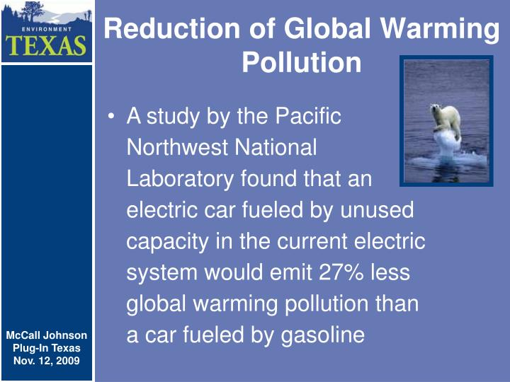 Reduction of Global Warming Pollution