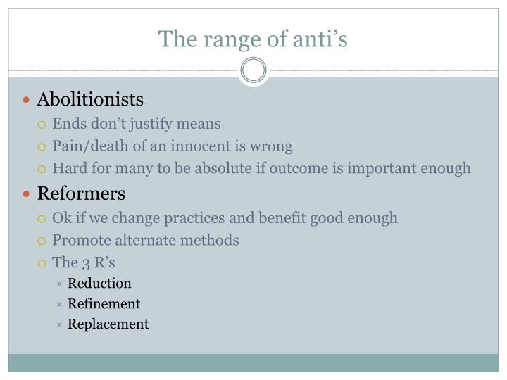 The range of anti's