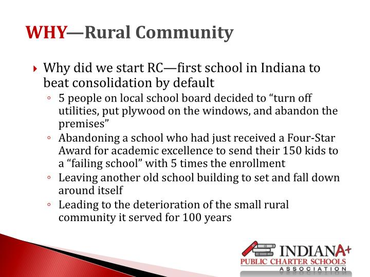 Why did we start RC—first school in Indiana to beat consolidation by default