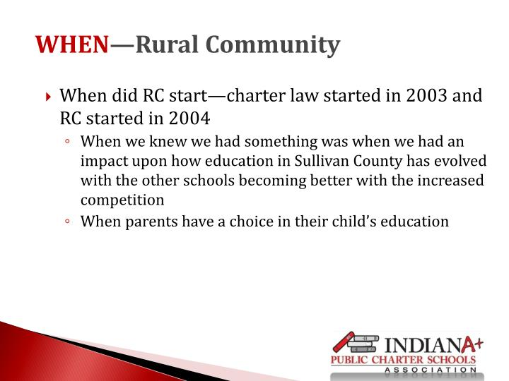 When did RC start—charter law started in 2003 and RC started in 2004