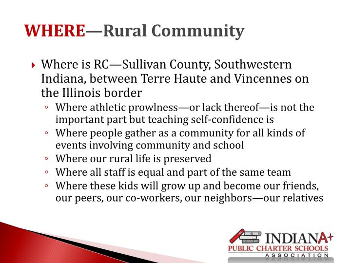 Where is RC—Sullivan County, Southwestern Indiana, between Terre Haute and Vincennes on the Illinois border