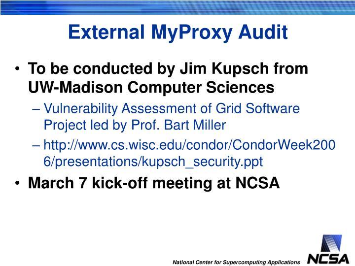 External MyProxy Audit
