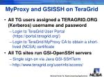 myproxy and gsissh on teragrid