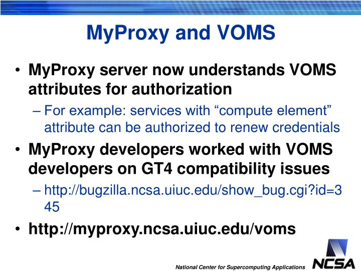 MyProxy and VOMS