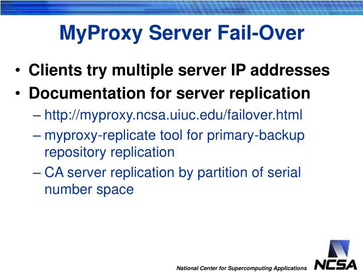 MyProxy Server Fail-Over
