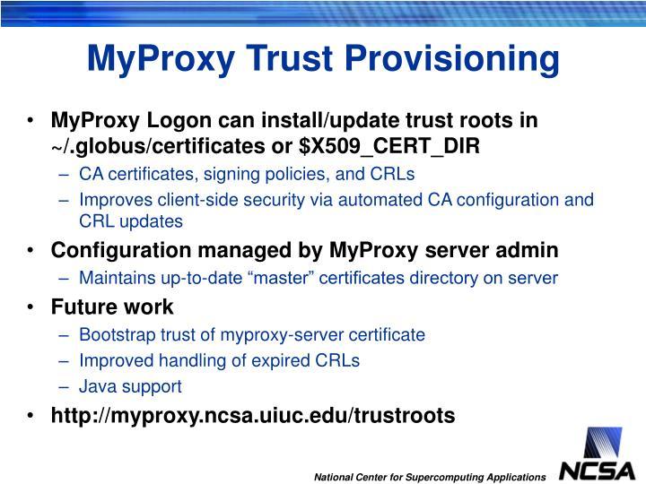MyProxy Trust Provisioning