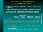 evaluation of cgh hospitalization by adult clinic patients