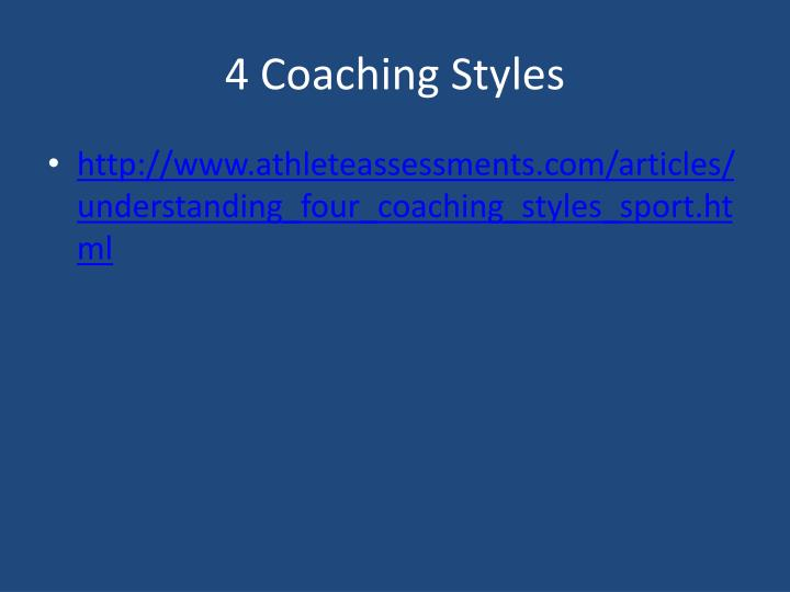 4 Coaching Styles