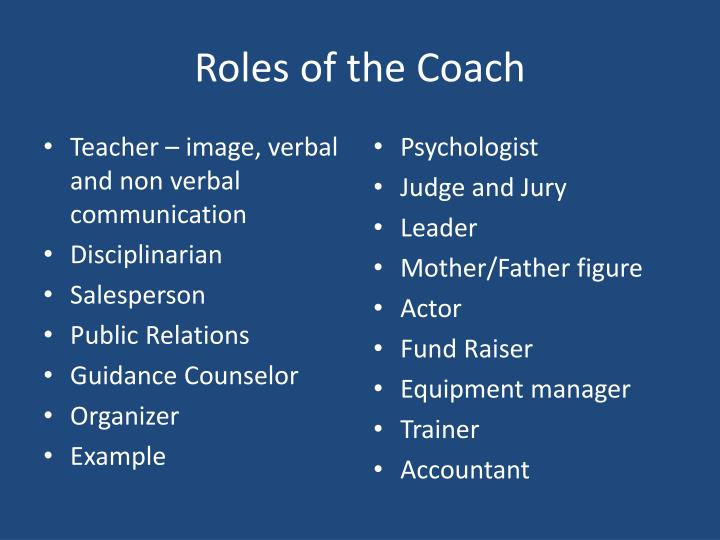 Roles of the Coach