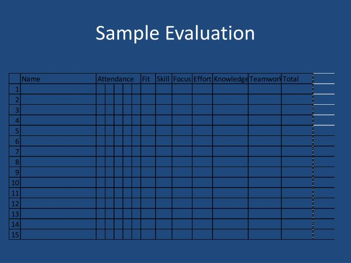 Sample Evaluation