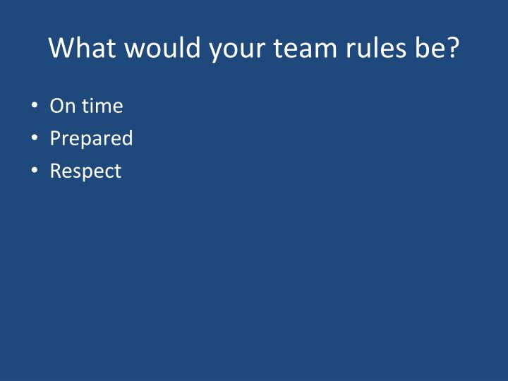 What would your team rules be?