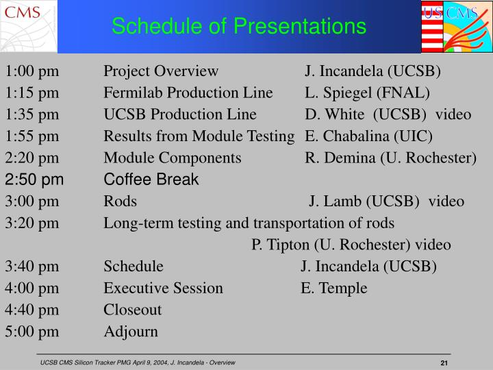 Schedule of Presentations