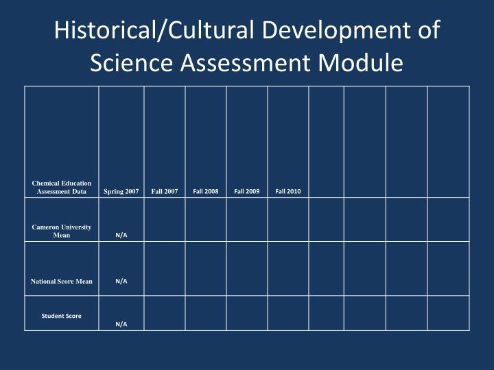 Historical/Cultural Development of Science Assessment Module