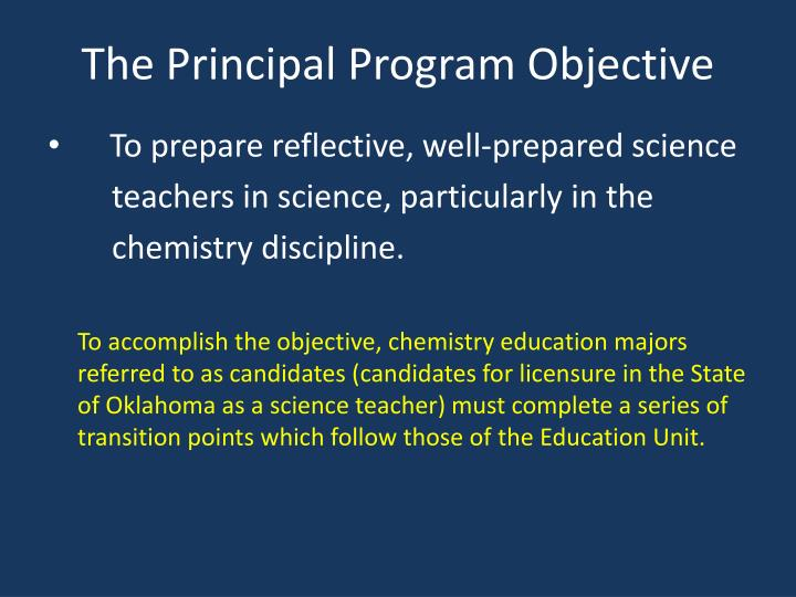 The Principal Program Objective