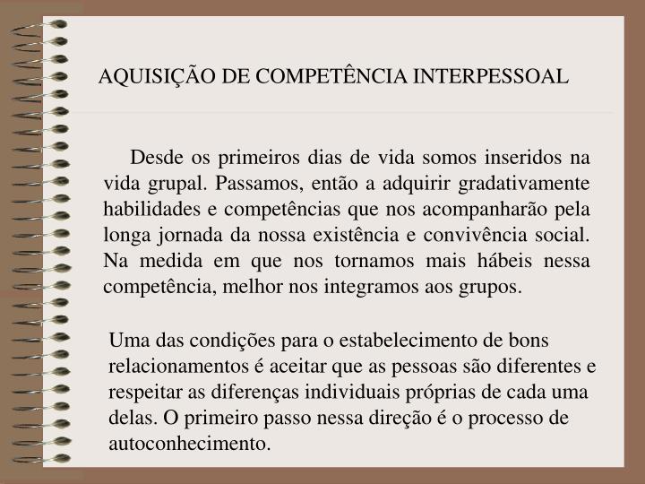 AQUISIÇÃO DE COMPETÊNCIA INTERPESSOAL