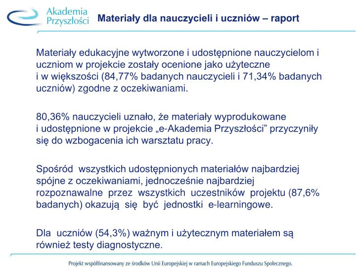 Materiały dla nauczycieli i uczniów – raport