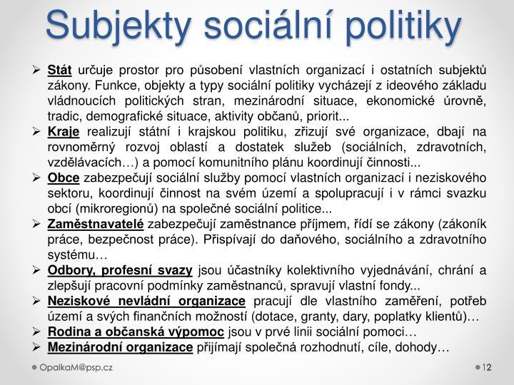 Subjekty sociální politiky