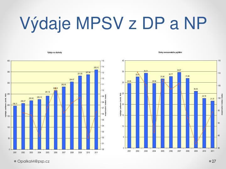 Výdaje MPSV z DP a NP