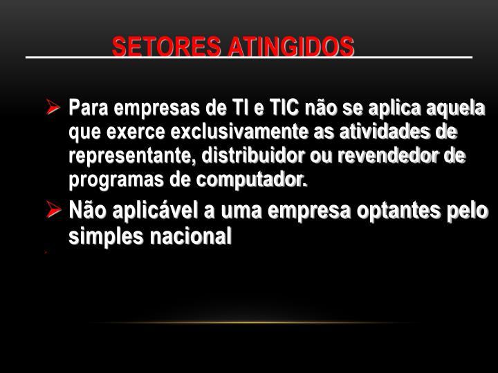 SETORES ATINGIDOS