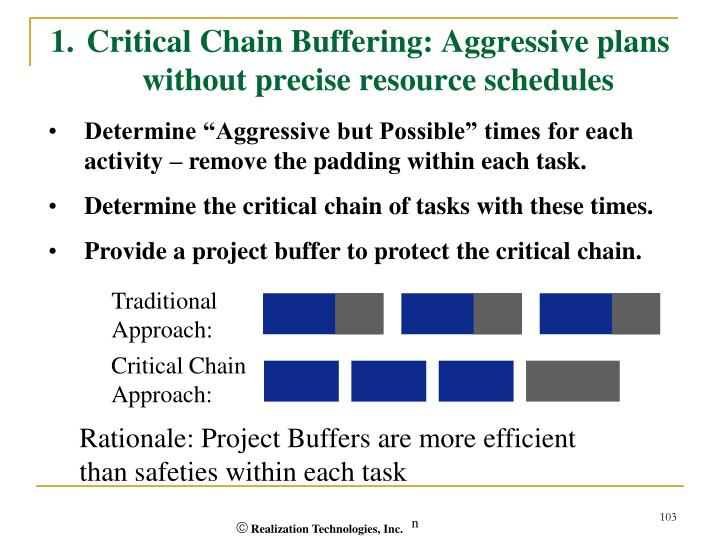 1.Critical Chain Buffering: Aggressive plans without precise resource schedules