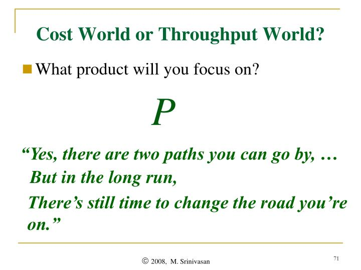 Cost World or Throughput World?