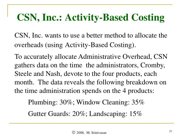 CSN, Inc.: Activity-Based Costing