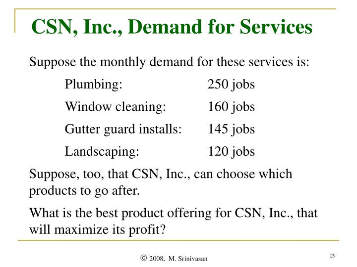 CSN, Inc., Demand for Services