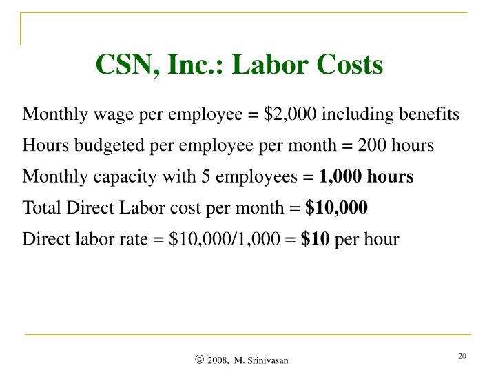 CSN, Inc.: Labor Costs