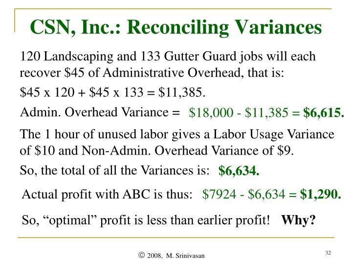 CSN, Inc.: Reconciling Variances