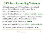 csn inc reconciling variances