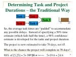 determining task and project durations the traditional way