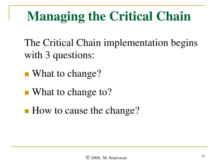 Managing the Critical Chain