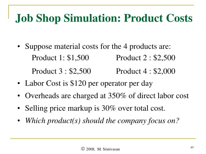 Job Shop Simulation: Product Costs