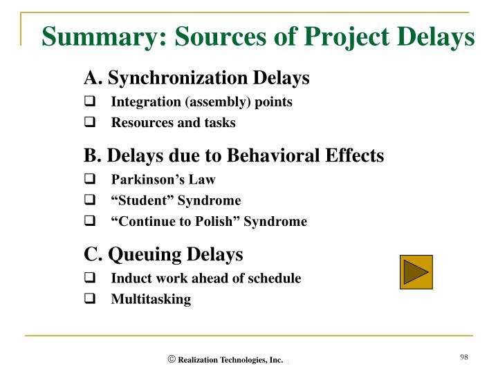 Summary: Sources of Project Delays