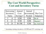 the cost world perspective cost and inventory turns