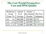 the cost world perspective cost and ppm quality