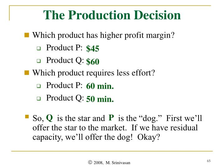 The Production Decision