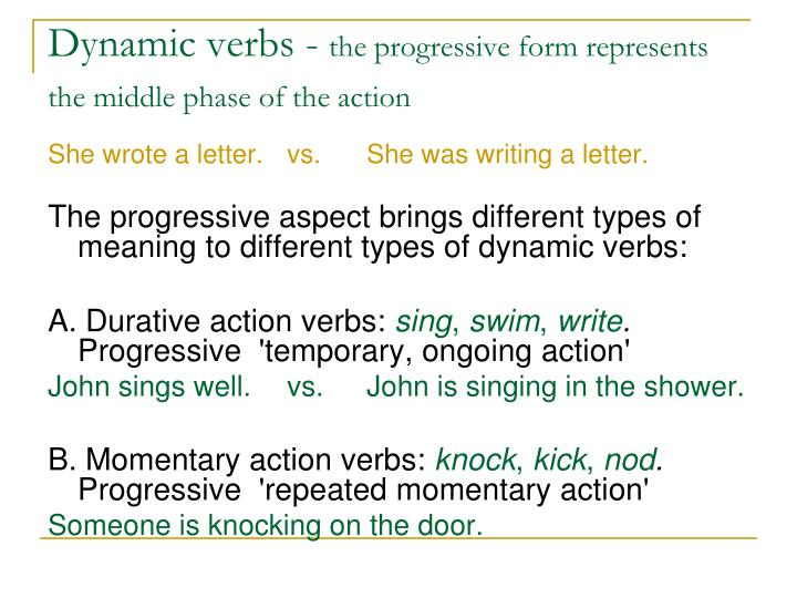 Dynamic verbs -