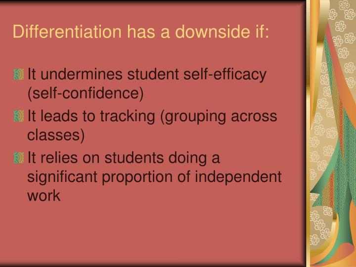 Differentiation has a downside if: