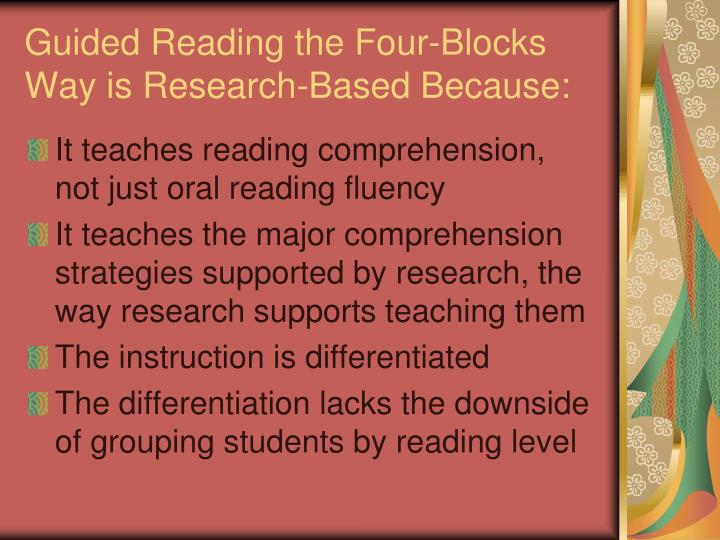 Guided Reading the Four-Blocks Way is Research-Based Because: