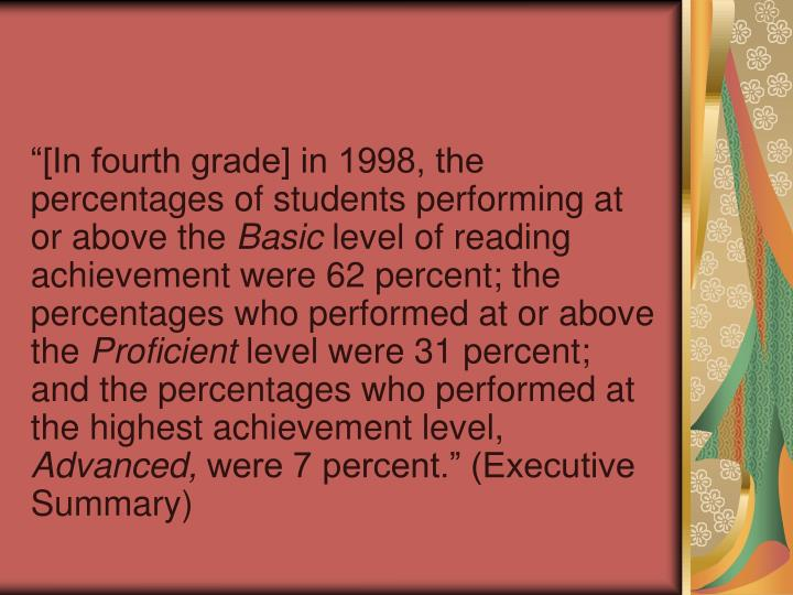 [In fourth grade] in 1998, the percentages of students performing at or above the