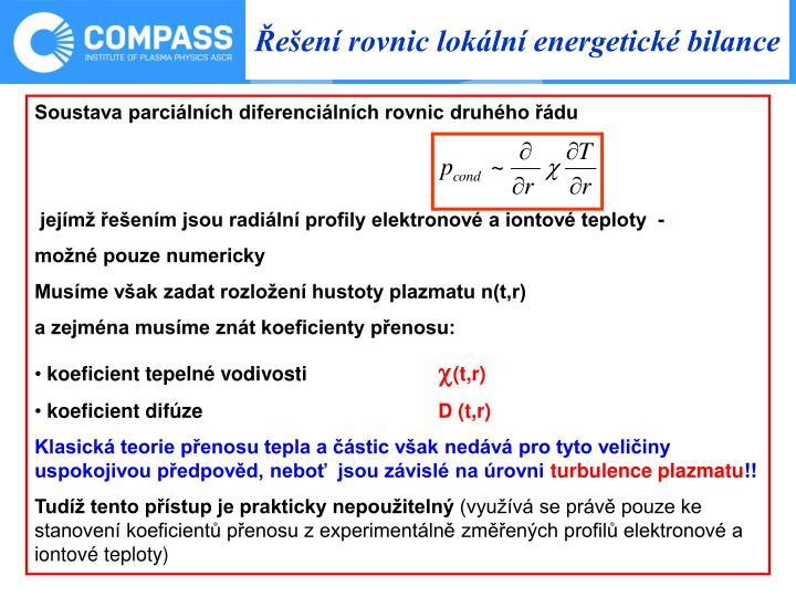 Řešení rovnic lokální energetické bilance